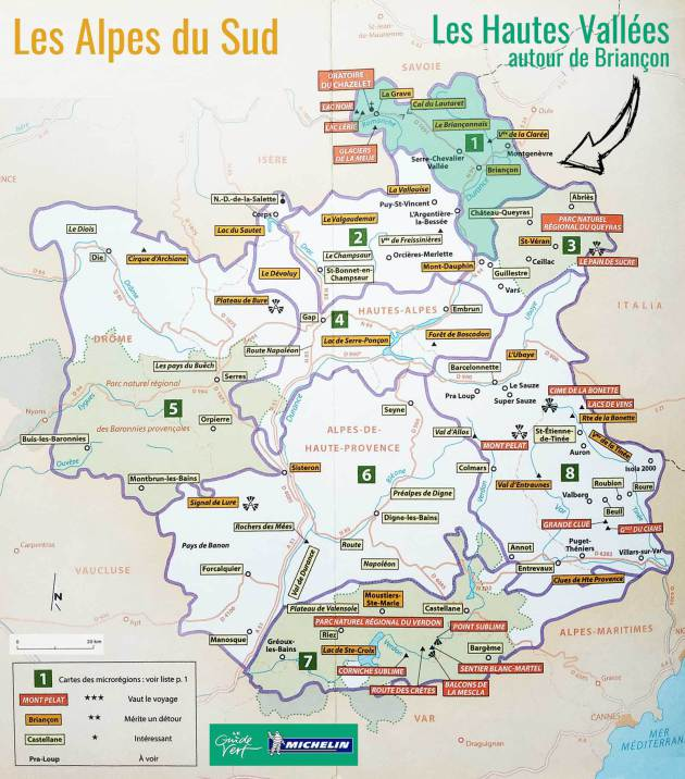 Carte des Alpes du Sud du guide vert Michelin (édition 2017)