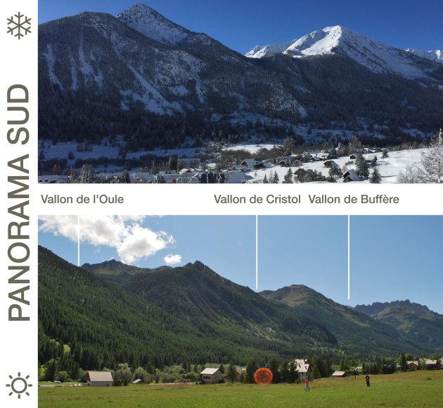 La vue plein Sud sur la Vallée de La Clarée depuis Névache, Alpes du Sud