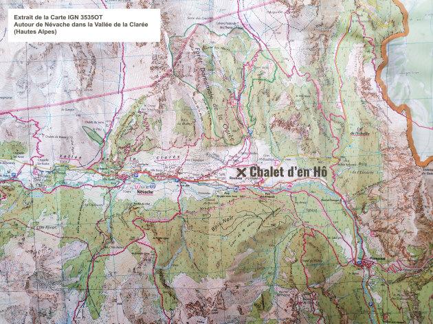 Extrait de la Carte IGN 3535OT: Autour de Névache dans la Vallée de la Clarée (Hautes Alpes)