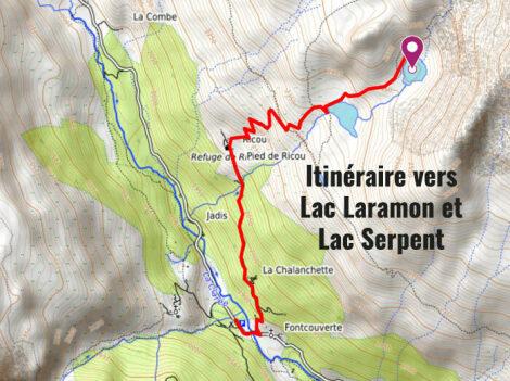 Carte avec itinéraire vers Lac du Laramon et Serpent
