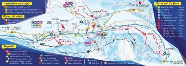 Plan des pistes de Ski de Fond / Ski Nordique à Névache (30 min de Briançon)