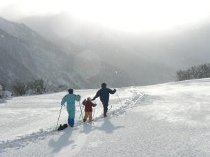 Famille en Ski de Fond à Névache